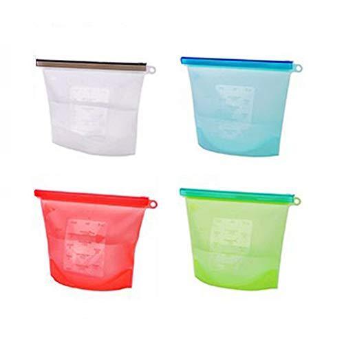 1L Reusable Silicone Food Storage Bag, Homeself Seal Fridge Storage Cooking Bag, Food Grade Vegetable Storage Bag Versatile Preservation Bag Container for Fruits Vegetables Meat (Pack of 4)