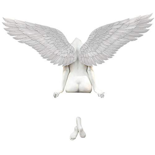 Alliwa Skulptur Deko Modern Wandskulptur 3D EngelsflüGel Retro Deko Engel Statue Bunte EngelsflüGel Wanddeko für Wohnzimmer Schlafzimmer (EngelsflüGel #Weiß)