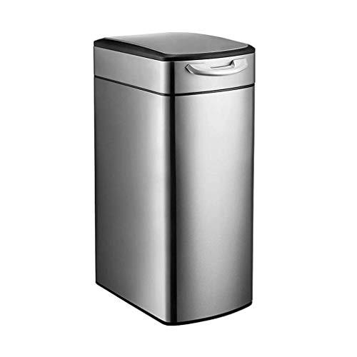 CJH Bote de Basura Cubo de Basura de Acero Inoxidable para el Hogar Cocina Sala de Estar Oficina Moda Americana Grande Cubierto (Color: Plateado Tamaño: 30L),30L-Plata
