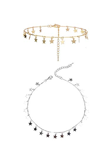Sophie Land (2 Pieces Silver and Golden) Lucky Star Choker Necklace Pendant Disc Chain Statement Necklace for Women Girls