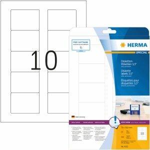 HERMA Disketten-Etiketten weiß 35 70x50,8mm Special A4 VE=250 Stück