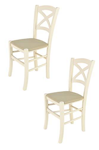 Tommychairs - 2er Set Stühle Cross für Küche und Esszimmer, Robuste Struktur aus lackiertem Buchenholz in der Anilinfarbe Weiss und gepolsterte Sitzfläche mit Stoff in der Farbe Hanf bezogen