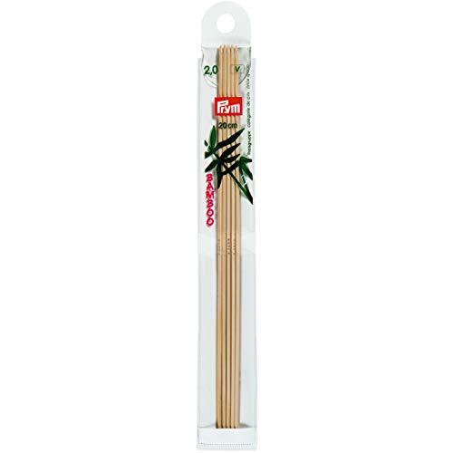 Prym 221210 Strumpfstricknadeln, 20 cm, 2,00 mm Strumpfstricknadel, Bambus, Natur, 2 mm