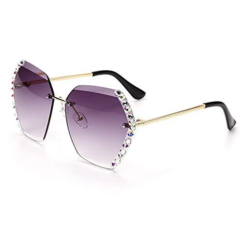 ZHJKK Gafas de Sol sin Montura de Cristal Mujeres de Lujo Rhinestone sin Marco Gafas de Sol graduales Sombras Hexágono (Lenses Color : 4)