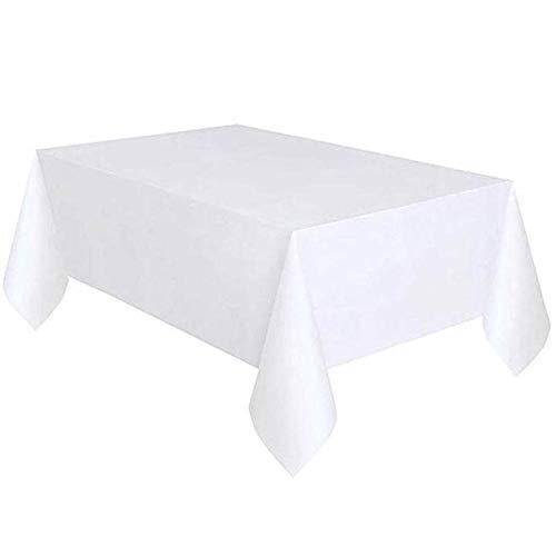 Cxssxling - Mantel Impermeable para Mesa de jardín, Rectangular, Antimanchas, de Polietileno, 137 x 274 cm, Color Blanco