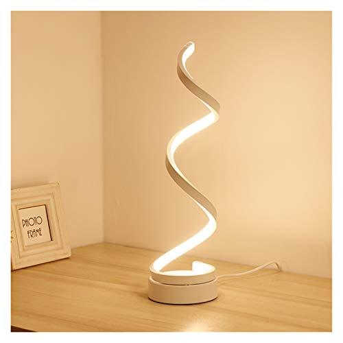 QIANGQSM Lámpara de Mesa Lámpara de Mesa LED Moderno Creativo Spiral Design Minimalista Iluminación Dimmable Separe Escritorio Lámpara Ideal for Sala de Estar Blanco Cuarto