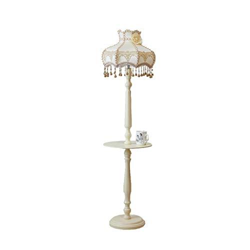 BTPDIAN Tela de madera maciza lámpara de pie sala de estar dormitorio estudio de cabecera lámpara de mesa vertical jardín boda lámpara de pie lámpara de mesa lámpara de encaje marfil blanco interrupto