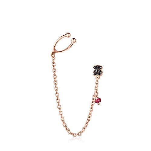 Pendiente Motif de Plata Vermeil rosa con Espinelas y Rubí