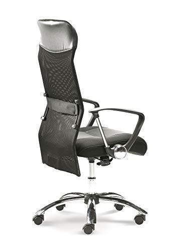 Mayer Chefsessel, Leder-Optik, Netzrücken, schwarz, One Size