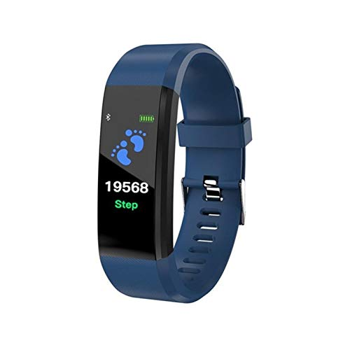 GYY Smart Band Fitness Bracelet Step Counter Smartband Reloj Monitoreo De La Frecuencia Cardíaca Pulsera PK ID107 FIT bit (Color : Blue)