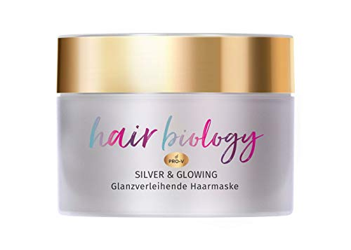 Hair Biology Silver & Glowing Haarmaske, 160ml, Für Blondes, Graues & Weißes Haar, mit Jojoba Öl, mit Jojobaöl, Haarkur, Haare Kur, Haarpflege, Haar Mask, Haar Pflege Kur