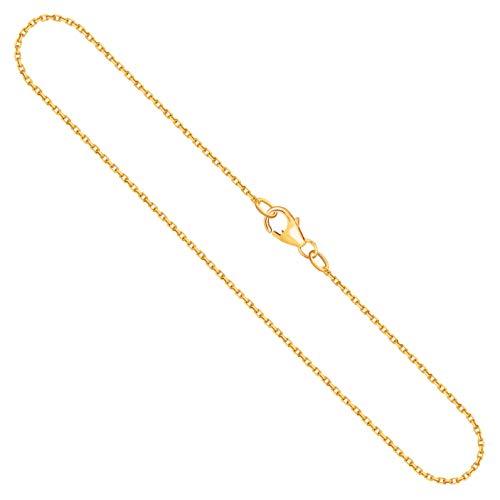 Goldkette, Ankerkette diamantiert Gelbgold 750/18 K, Länge 50 cm, Breite 1.3 mm, Gewicht ca. 3.6 g, NEU