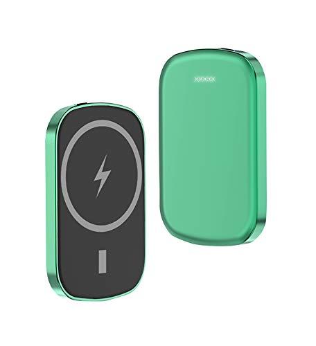 sgoseye Cargador Inalámbrico mag-Safe Power Bank, Cargador Magnético Portátil 5000Mah, PD20W + 15W Carga Rápida Inalámbrica, para IPhone12 12Pro MAX Mini Batería Externa Magnética (Verde)