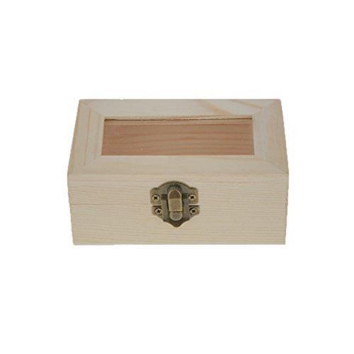 Hellery Unvollendete Holzkiste, Schmuckschatulle Schmuckbox Schmuckkasten für DIY Basteln - Rechteck mit Glasdeckel