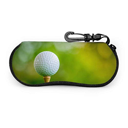 Sonnenbrille Soft Case, Golfball auf T-Stück Spielfertige Neopren-Brillenetui mit Reißverschluss und Gürtelclip für Brillen, Rahmen, Tragetasche für Make-up-Tasche für Schlüssel, Bleistifte, Ka