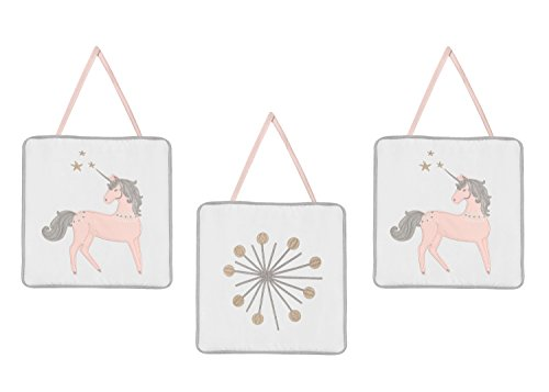 Pink, Grey and Gold Wall Hanging Decor for Unicorn Collection by Sweet Jojo Designs - Set of 3