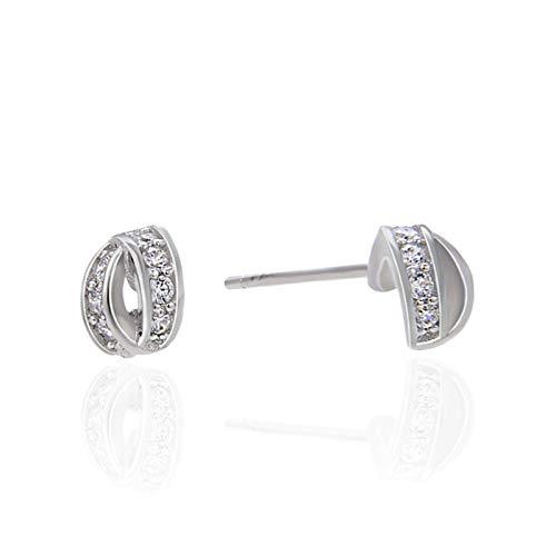 KnSam Pendientes para mujer de plata 925 con nudo de plata 925 y circonitas