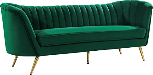 Meridian Furniture Margo Collection Modern | Contemporary Velvet Upholstered Sofa with Deep Channel Tufting and Rich Gold Stainless Steel Legs, Green, 88' W x 30' D x 33' H