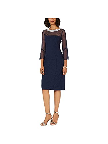 Alex Evenings Women's Short Shift Dress with Embellished Illusion Detail,...