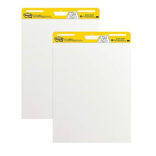 Post-it Super Sticky Easel Pad, 25 in x 30 in, White, 30 Sheets/Pad, 2 Pad/Pack, Great for Virtual Teachers and Students (559)