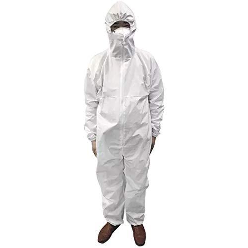 Sidiou Group Tuta Integrale Lavora Un Pezzo Abiti da Lavoro Uomo Donna Abbigliamento da Lavoro con Zip Frontale Vestiti da Lavoro (Pp 45g Bianco, Taglia Unica)