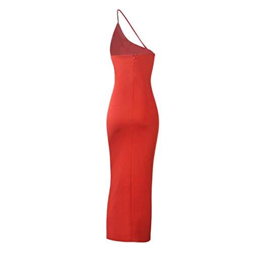 Sukienka na imprezę Moda damska Sexy Slim jedno ramię Backless koktajl wieczorowa długa sukienka czerwona S