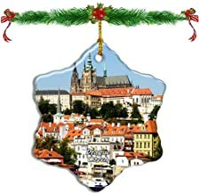 Kysd43Mill Czech Prague Castle Prague Christmas Ornaments Porcelain Star Shape Double Sided Christmas Tree Decoration Ornaments Keepsak Gifts for Kids New Couples