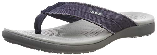 Crocs Santa Cruz Canvas Flip Men, Zapatos de Playa y Piscina para Hombre, Azul (Navy/Light Grey 41s), M7, 39/40