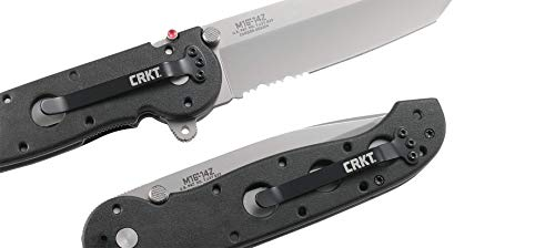 CRKT M16-14Z EDC Folding Pocket Knife: Everyday Carry, Serrated Edge Blade, Tanto, Automated Liner Safety, Nylon Handle, 4-Position Pocket Clip