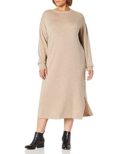 The Drop Vestido Sudadera Midi con Espalda de Pico En Punto Acanalado Suki Dresses Mujer