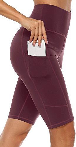 Anwell Laufhose Kompression Damen Tights Push Up Thermo Short Hose kurz elastisch Sommer mit Tasche Kurze Hose Hoher Bund Rot S