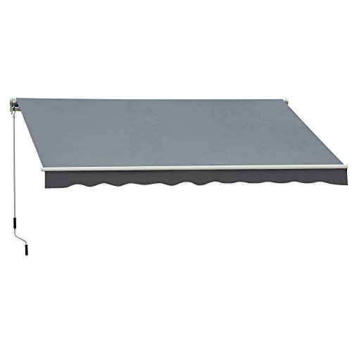 Outsunny 2.5m x 2m Garden Patio Manual Awning Canopy Sun Shade Shelter Retractable with Winding Handle Grey