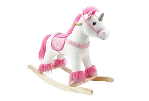 The Rocking Horse Co. - Pink / White Rocking Unicorn - with Horn, Mane & Tail - Plush Finish - Complete with Sounds - On solid wood rockers
