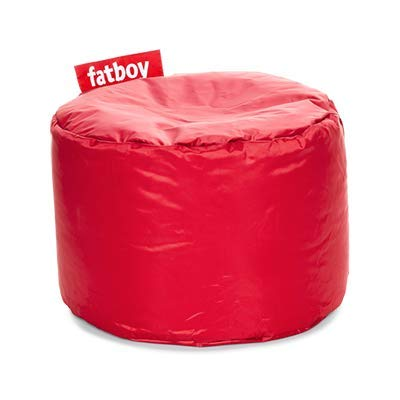 Fatboy® Point Hocker Nylon Red | Runder Sitzhocker in Rot | Trendiger Poef/Fußbank/Beistelltisch | 35 x ø 50 cm