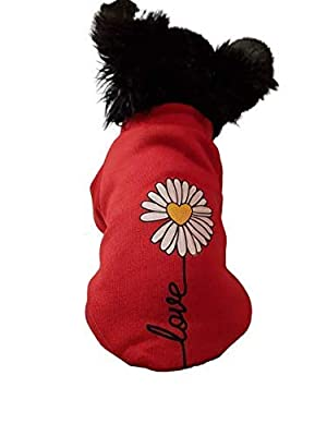 "Chihuahua Clothes Clothing Puppy Dog Tshirt Red Daisy Love Flower Sweater Jumper Coat (XS- 8"", Red)"
