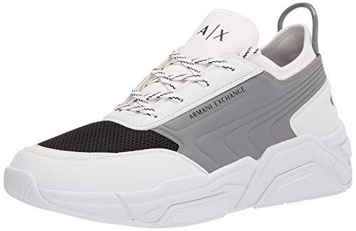 ARMANI EXCHANGE XUX080 - Zapatillas casual para hombre, abombadas, color blanco y gris Blanco Size: 46 EU