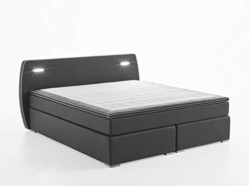 *Atlantic Home Collection Boxspringbett REX, 160×200 cm, inklusive LED Beleuchtung und Topper (Härtegrad H2), dunkelgrau*