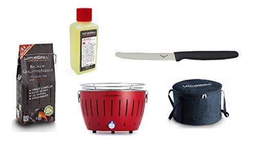 LotusGrill Juego de Barbacoa de carbón Vegetal pequeño y Compacto con 1 kg de carbón Vegetal de Haya, 200 ml de Pasta Combustible, 1 Cuchillo Multiusos y 1 Bolsa