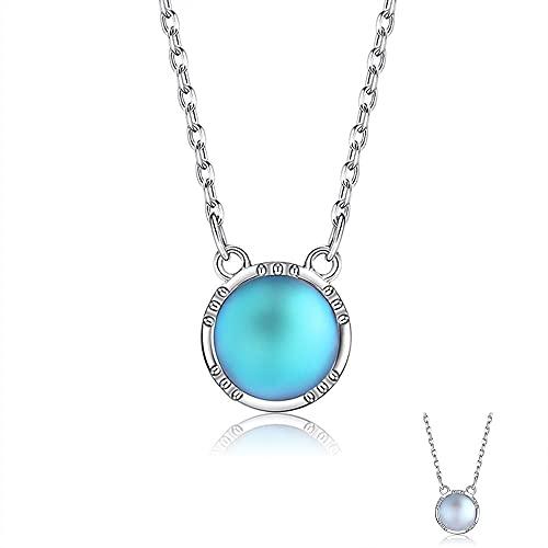 XIAOLONG para Las Mujeres 925 Collar de Plata esterlina elección de Dos Colores Ronda Piedra Lunar O-Cadena Colgante Collar Compromiso Boda