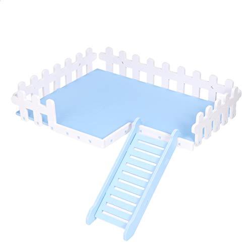 POPETPOP Piattaforma di Giocattoli per criceti Scala a gattoni Accessori Gabbia in Legno per cincillà di Criceto Piccoli Animali Domestici (Taglia l, Blu)
