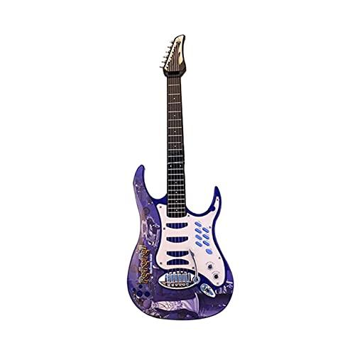 Conjunto de guitarra eléctrica para niños y micrófono de karaoke, 6 cuerdas para niños de guitarra de rock, instrumentos musicales guitarra de juguete para 4-6 niños / adolescentes / principiantes