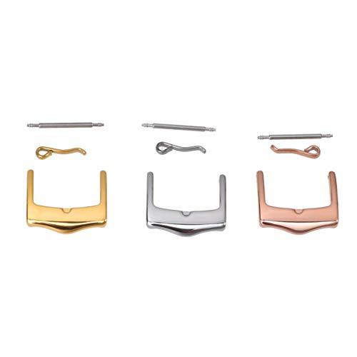 Hemobllo Uhrenarmband Schnallen Universal Premium Edelstahl empfindliche Uhr Zubehör Armbanduhr Verschlüsse 3pcs (16mm)