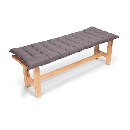 Homeoutfit24 Sun Garden 1-Stück Bankauflage Sylt in Grau Sitzkomfort auf höchstem Niveau, hochwertiges Polsterkissen für Gartenmöbel, 140 x 50 x 7 cm