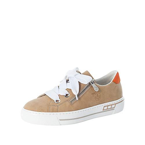 Rieker Damen Low-Top Sneaker L88A0, Frauen Halbschuhe,Plateausohle,weiblich,Ladies,Women's,Woman,schnürschuhe,schnürer,Lady,beige (62),40 EU / 6.5 EU