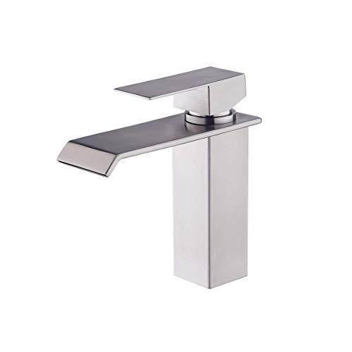 Lardecor - Grifo de Lavabo de Acero inoxidable - Monomando para Agua Fría y Caliente - HAVASU SILVER (Mod. 4101)