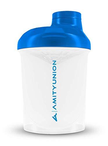 AMITYUNION Protein Shaker White Blue Deluxe 400 ml - Sin BPA con tamiz y escala para batidos cremosos de proteína de suero de leche - Gimnasio Fitness Botella para aislamientos y refuerzo