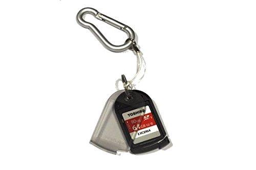 Media Express SF1001-1, 3 Porta Schede di Memoria SD MicroSD con Adattatore, di cui 2 con Laccetto da Portare al Collo e 1 con Gancio Moschettone per Portachiavi, Cintura, ecc. (Memorie non Incluse)