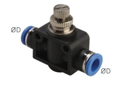 """PneumaticPlus SCF-1/4 Air Flow Control Valve with Push-to-Connect Fitting, in-Line Speed Controller Union Straight - 1/4"""" Tube OD x 1/4"""" Tube OD from PneumaticPlus"""