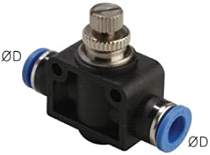 """PneumaticPlus SCF-1/4 Air Flow Control Valve with Push-to-Connect Fitting, in-Line Speed Controller Union Straight - 1/4"""" Tube OD x 1/4"""" Tube OD"""