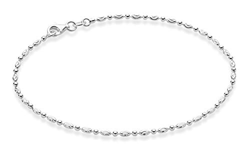 Miabella 925 Sterling Silver Diamond-Cut Oval and Round Bead Ball Chain Anklet Ankle Bracelet for Women Teen Girls, 9, 10 Inch Made in Italy (9, Sterling Silver)